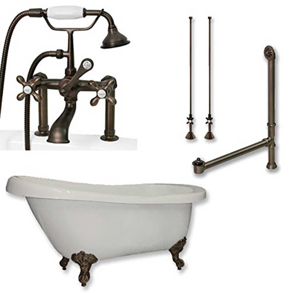 wall clawfoot brass improvement kingston faucet for home pdx wayfair tub reviews handle faucets mount two